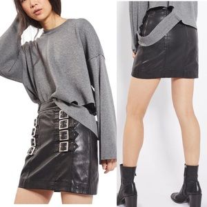 Topshop Leather Buckle Skirt
